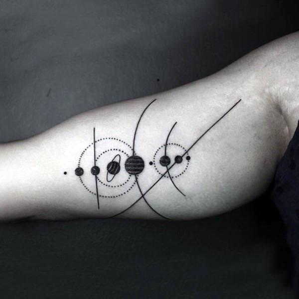 Mens Black Solar System Tattoo On Forearms