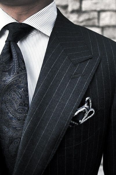 Mens Black Suit Style Looks Paisley Tie