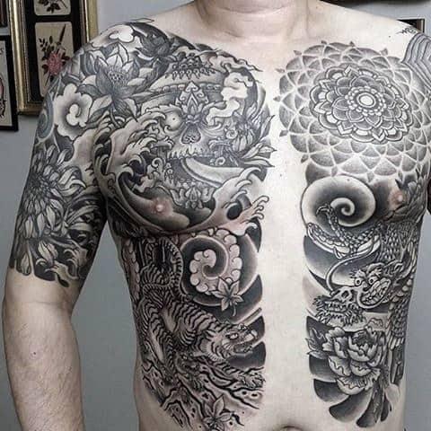 Men's Black Tiger Tattoos On Chest