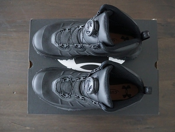 Mens Black Under Armour Fat Tire Gore Tex Hiking Boots Top View