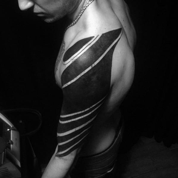 Mens Blackout Half Sleeve Arm Tattoo