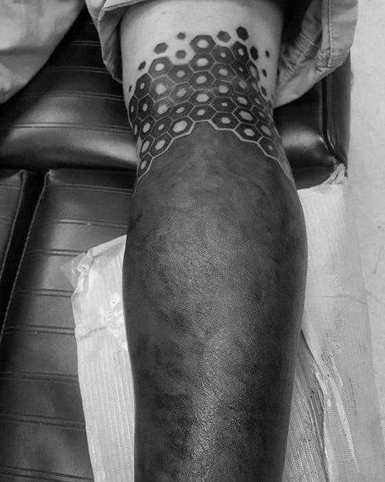 Mens Blackout Leg Sleeve Tattoo Design Inspiration