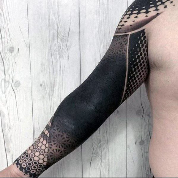Mens Blackout Sleeve Tattoo Ideas
