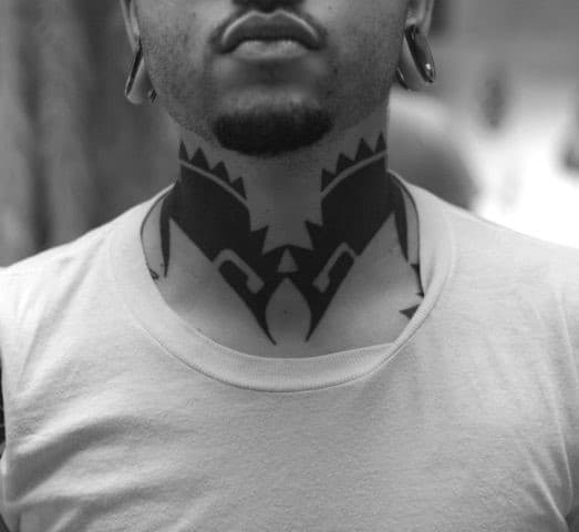Mens Blackwork Cool Tribal Neck Tattoo Ideas