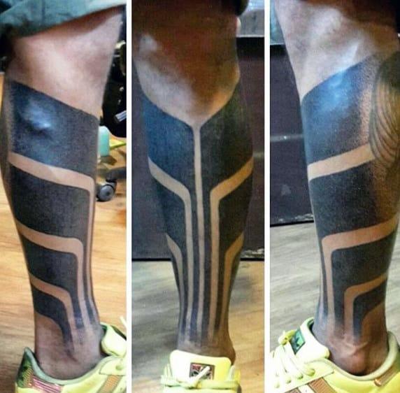 Mens Blackwork Tribal Shin Tattoos
