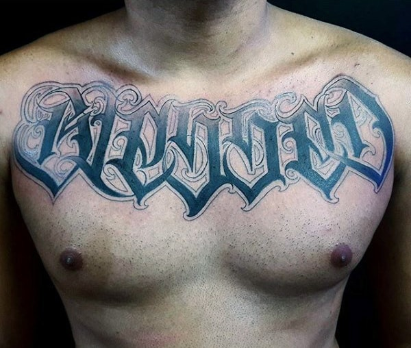 Mens Blessed Tattoo On Chest