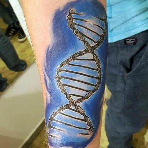 Mens Blue Bicycle DNA Patterned Tattoo Forearms