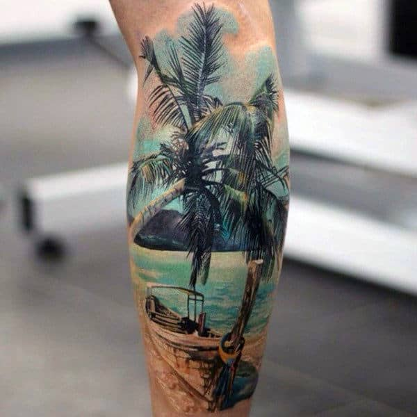Mens Boat Tied To Palm Trees Tattoo On Legs