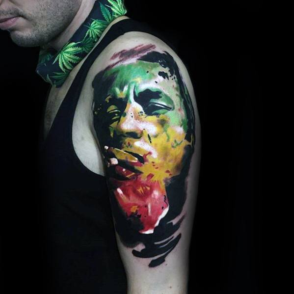Mens Bob Marley Red Yellow And Green Flag Tattoo Design Inspiration