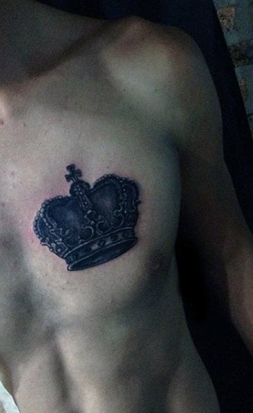 Mens Bold Black Crown Tattoo On Chest