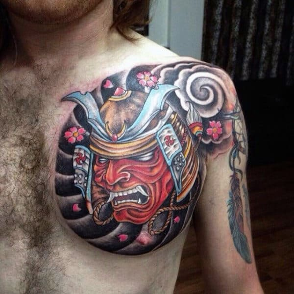 Mens Bold Samurai Mask On Stormy Background Chest Tattoo
