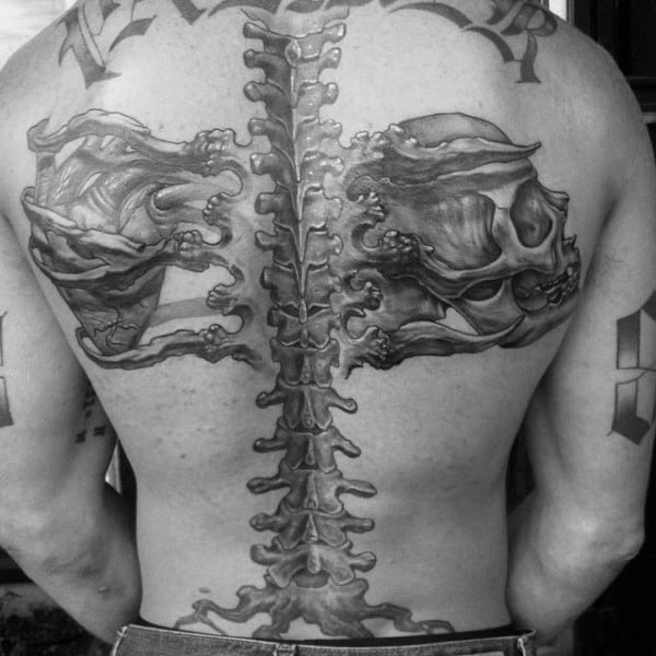 Mens Bone Spine Tattoo With Skull And Heart