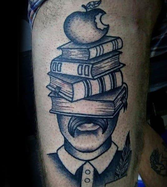 Mens Books And Bitten Apple Tattoo Upper Arms