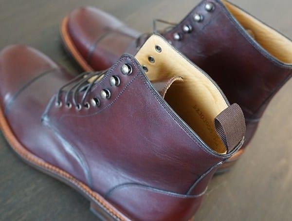 Mens Bordeaux Calfskin Leather Beckett Simonon Dowler Cap Toe Boot