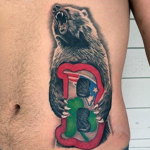 Mens Boston Red Sox Tattoo Design Ideas Rib Cage Side