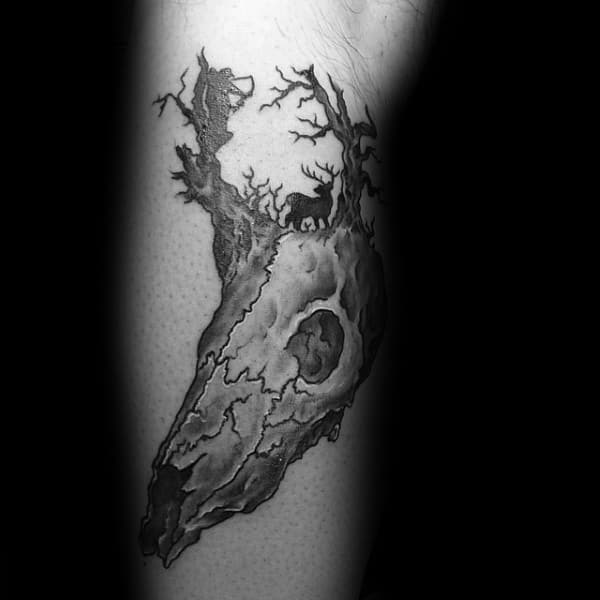 Mens Bowhunting Deer Skull Leg Tattoo