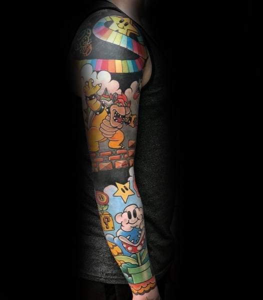 Mens Bowser Tattoo Ideas