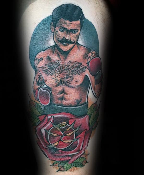 Mens Boxer Rose Memorial Traditional Tattoo Arm Tattoos