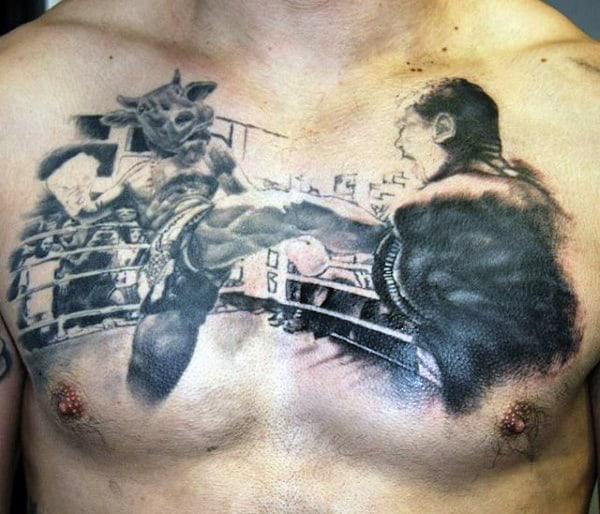 Men's Boxing Chest Kick Tattoo