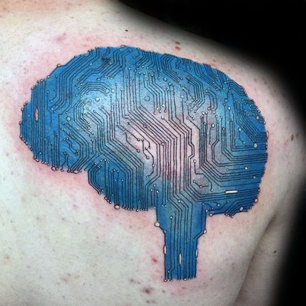 Mens Brain Circuit Board Back Tattoo With Blue Shaded Ink