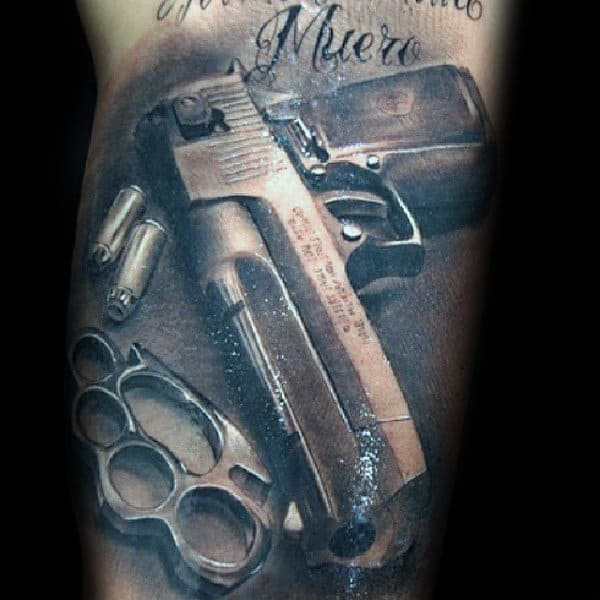 Mens Brass Knuckles Pistol Realistic 3d Arm Tattoo