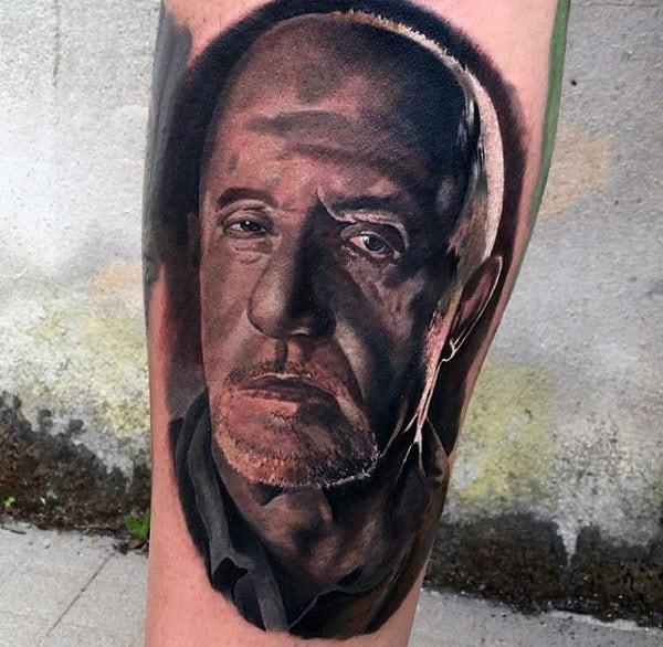 Mens Breaking Bad Portrait Tattoo Ideas