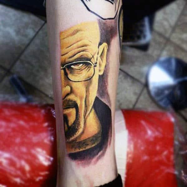 Mens Breaking Bad Tv Show Tattoo On Lower Leg