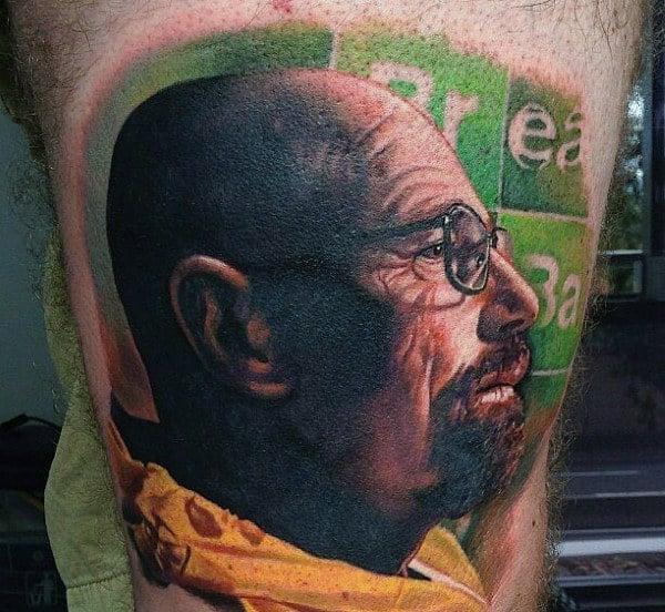 Mens Breaking Bad Walter White Portrait Thigh Tattoo