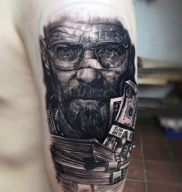 Mens Breaking Bad Walter White With Cash Upper Arm Tattoo
