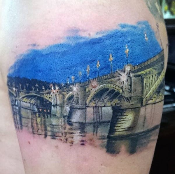 Mens Bridge At Night Reflection Quarter Sleeve Tattoo