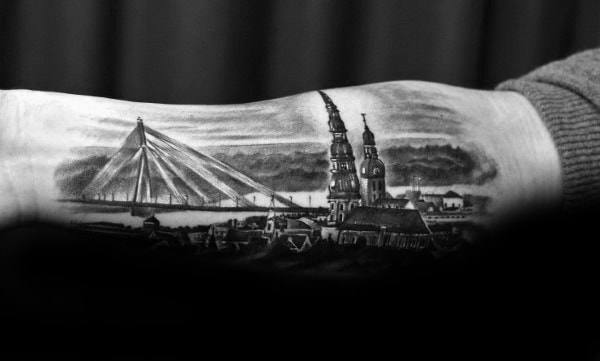 Mens Bridge With Historic Buildings Inner Forearm Tattoo Design Ideas