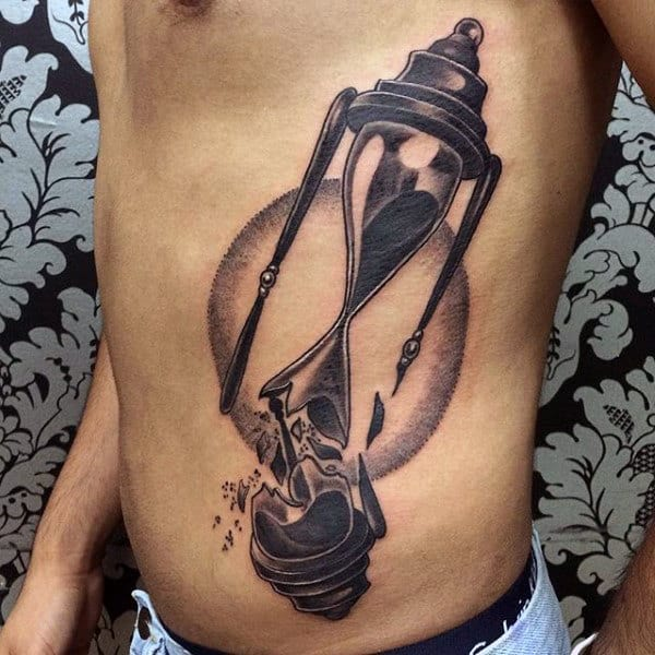 Mens Broken Hourglass Tattoos On Rib Cage Side