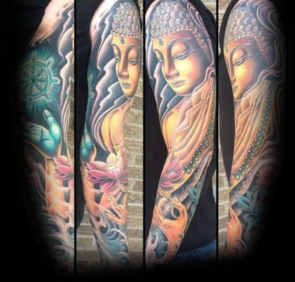 Mens Buddha Dharma Wheel Tattoo Full Sleeve