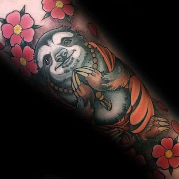 Mens Buddha Sloth With Flowers Forearm Tattoo Design Ideas