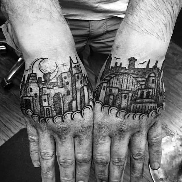 Mens Building Hand Tattoos With Old School Design