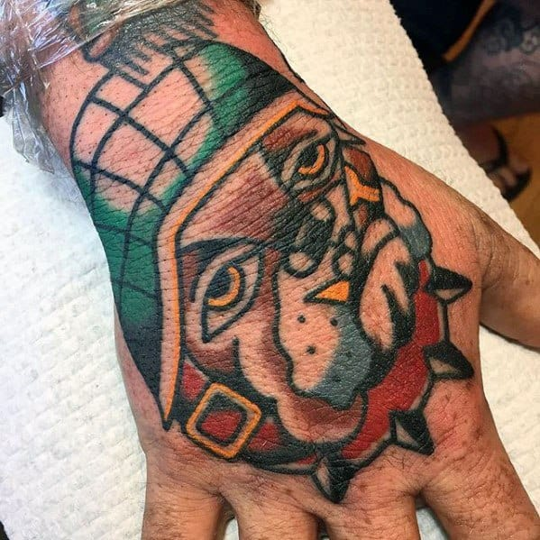Mens Bulldog Hand Tattoo With Old School Traditional Design
