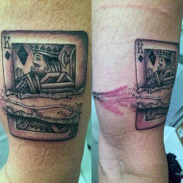 Mens Bullet Flying Through King Playing Card Tattoo