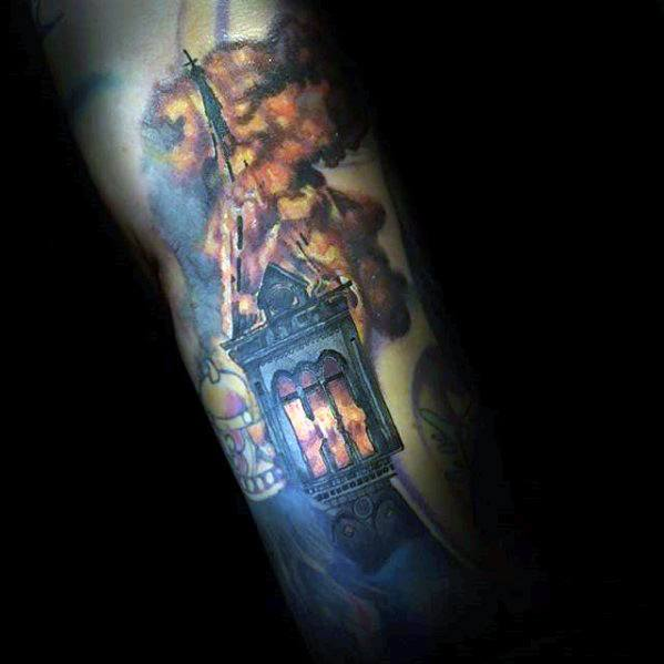 Mens Burning Church Tattoo Design Ideas