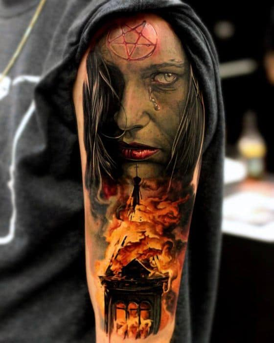 Mens Burning Church Tattoo Design Inspiration