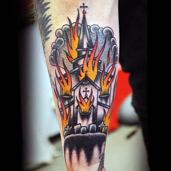 Mens Burning Church Tattoo