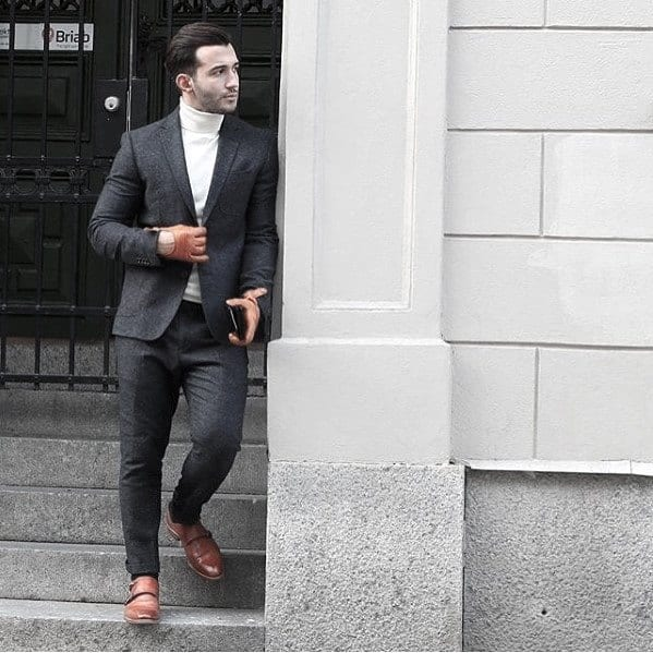 Mens Business Casual Charcoal Grey Suit Brown Shoes Style Ideas