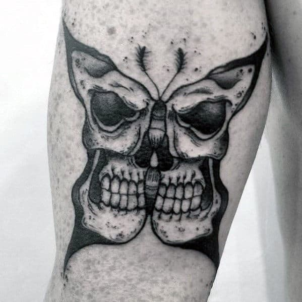 Mens Butterfly Skull Back Of Arm Tattoo Design
