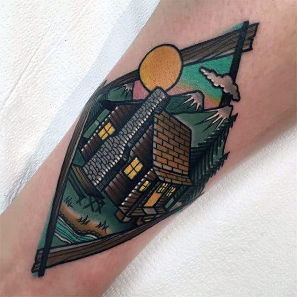 Mens Cabin Mountains Forearm Tattoo Design