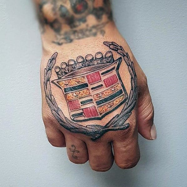 Mens Cadillac Emblem Logo Hand Tattoos