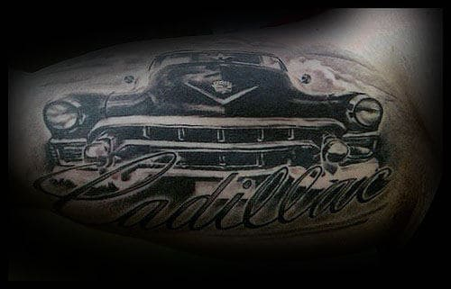 Mens Cadillac Script With Classic Car Inner Arm Bicep Tattoo Design Ideas