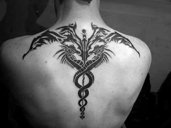 Mens Caduceus Black Ink Tribal Back Tattoo Ideas