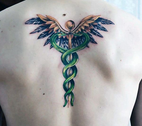 Mens Caduceus Green Snakes Back Tattoo