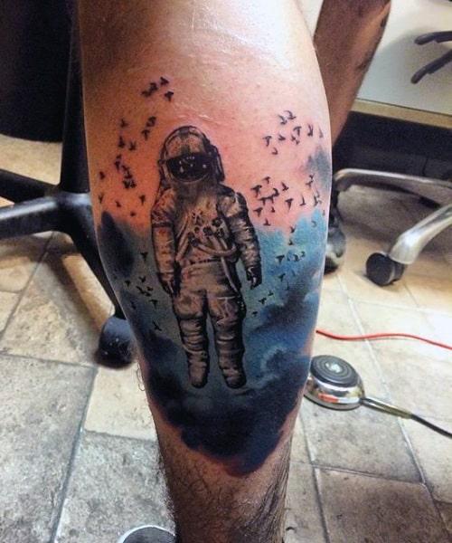 Astronaut Space Men's Calf Muscle Tattoo