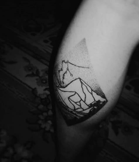 Mountain Men's Calf Sleeve Tattoo Ideas