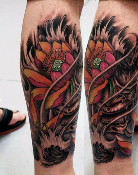 Flower Men's Calf Tattoo Sleeve